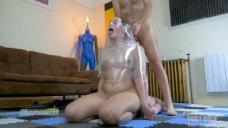 2 girls bondage wrapped for spit and deeptrhoat