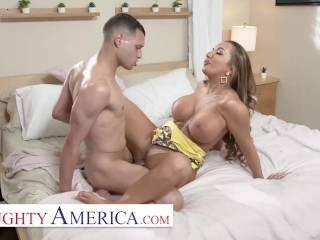 Naughty America – Richelle Ryan Lets her son's friend work on her pipes!!!