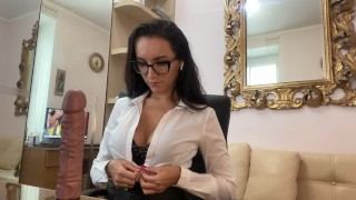 Hot secretary watches porn to learn how to suck her boss cock well