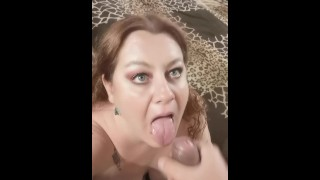 Hubby REALLY liked my makeup, so I sucked his YUMMY COCK and he covered my PRETTY FACE with CUM