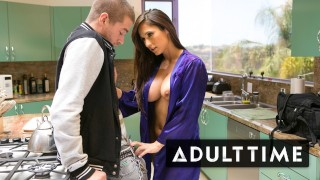Screen Capture of Video Titled: ADULT TIME Step-MILF Reena Sky Fucks Her New Stepson On The Kitchen Counter!