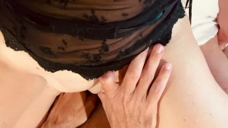 Horny wife rides dick and he cums hard