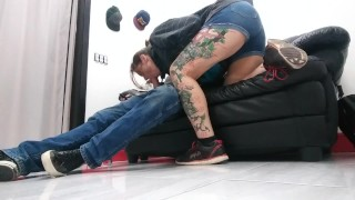Back room between tattoos spun anal