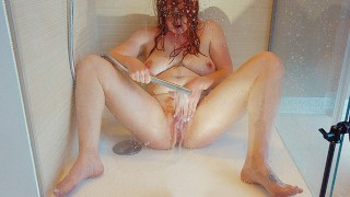 Solo Wet Hairy Ginger Pussy Orgasm on Shower Floor | Curvy Big Tits Pale Redhead MILF PAWG