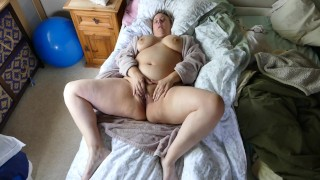 Pretty plumper stepmom fingering her thick hairy pussy craves a big hard cock