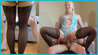 Real Big Tit Blonde Amateur Wife In Lingerie & Stockings Fucks On Chair TEASER