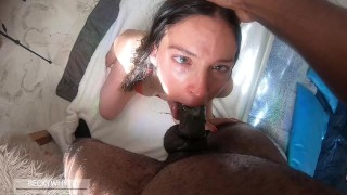 THROATFUCKING AFTER THROATPIE CUM CONTINUES TO DROOL OUT AS SHE GAGS