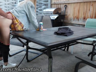 College Student Creampied On The Back Patio. Almost Caught! – Travellerfilms