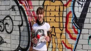 Graffiti Girl (Thin Russian Girl Creates & Shows)
