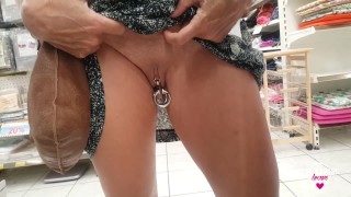 Nippleringlover flashing pierced pussy with big rings stretched labia piercings - public supermarket