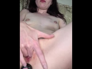 Milf stretching pussy, husband gives helping hand, I orgasm and squirt so much, 3 dildos