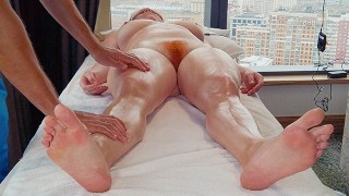 Sensual Oily Big Boobs Curvy Redhead MILF Massage Ends in Hairy Pussy Creampie Licking   Ginger Ale