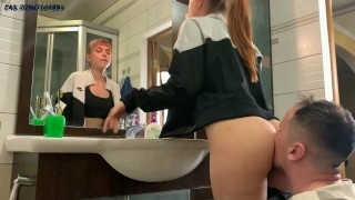 Slave Cleans Mistress Kira's Ass With Tongue After Gym - Rimjob Femdom