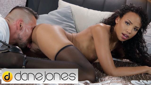 Dane Jones Ebony Dutch beauty Romy Indy romantic sex and creampie in black stockings