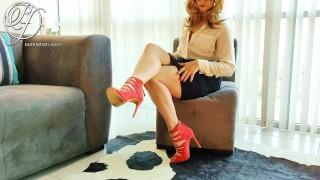 Classy MILF BOSS uses me for her dirty pleasure , high heels, foreskin play