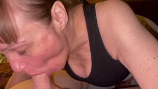 Watching granny suck his Dick dry. Oral creampie and showing cum in mouth