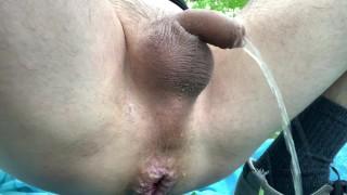 Public prostatemilking in woods: cumming hands free 3x and pissgasm
