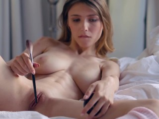 ULTRAFILMS Mila Azul using her make up accessory as a sex toy