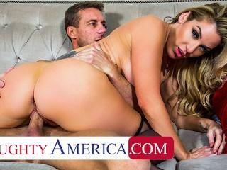 Naughty America – Busty Blonde Kayla Paige fucks mechanic with husband's permission