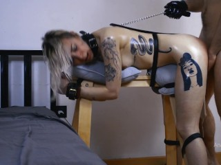 Petite slut AnaKatana get's sodomized while tied up and vibrated