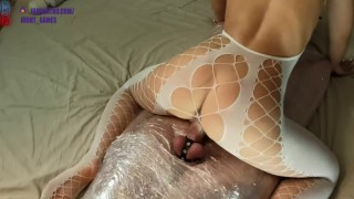 Wrapped the guy in stretch film, fucked and made him cum