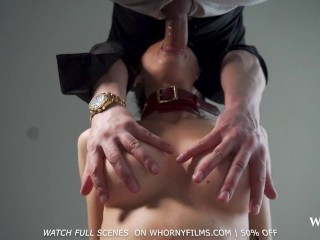 WHORNYFILMS- Skinny big tits babe Evilyn Jezebel gets face fucked and ass pounded hard