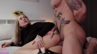 hot student gets a huge load of cum on her naughty face