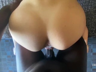 PAWG Teen Gets Fucked by BBC on Hotel Couch and Creampied POV Close Up