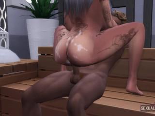 Busty Latina Fucks Black in Sauna – Sexual Hot Animations