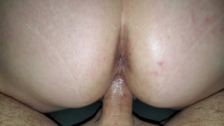 Hot wife teasing friends cock, slides it in accidentally raw unprotected and sends hubby the video