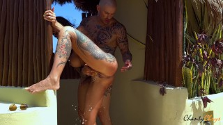 BUSTY brunette ANALLY FUCKED on terrace has AMAZING ORGASM! THE NEIGHBORS APPRECIATED! CHANTYCHRYS