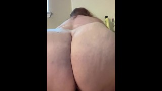 Look at my big white ass while I ride my dildo