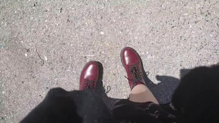 Nicoletta can't hold back and pisses on your face in a public garden - Wonderful upskirt pee