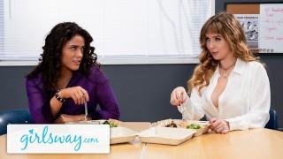 GIRLSWAY Stacked Lena Paul Bangs Her Colleague In Break Room