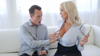 Busty Blonde Real Estate Agent Nina Elle Seduces Client Into A Deal