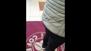 Step mom risky fuck in coffee shop with angry step son