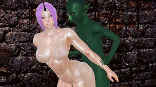Goblin anal fucks muscular Shion and titsjob 3d hentai