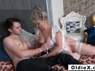 Cheating granny fucking a poor twink