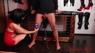 Mistress Slave Task #2 balls stretching 10 pound weight(4.5 kilos) lift ups from balls
