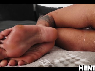 Real Life Hentai – Canela Skin get Double penetration with huge black Dildos