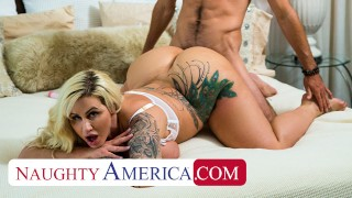 Naughty America - Busty blonde MILF Ryan Conner finds her son's friend peeping on her, then invites