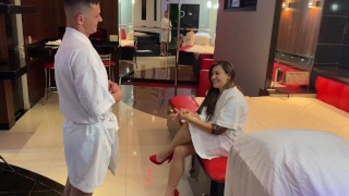 hot crown earns her husband's night voucher and goes to a massage parlor for women only. part 1