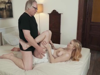 Blonde takes stepgrandpa facial after she gets fucked harcore