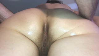 Hairy ass and pussy massage