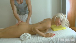 Blonde Teen gets fucked during sensual massage
