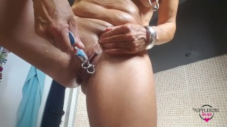 nippleringlover naked in bathtub shaving pierced pussy pulling labia rings flashing pussy wide open