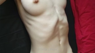Skinny sexy nude girl abdominals fitness model