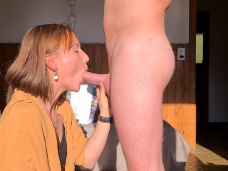 Pierced tongue ginger girl makes the sweetest blowjob, Naemyia got sunkissed