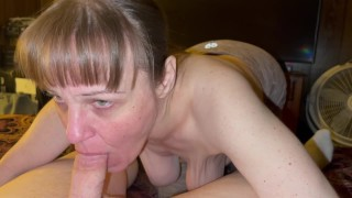 Granny with saggy boobs really enjoys sucking cock and getting oral creampied. Showing cum in mouth