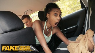 Fake Driving School Ebony Brit Asia Rae Gets Stuck and Fucked